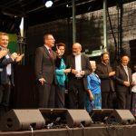 """2. Juli 2016: Kundgebung von """"Miteinander für Europa"""" auf dem Stachus in München. Der Leitungskreis des internationalen Netzwerkes wird auf der Bühne vorgestellt. (c) MfE, Foto: Grill"""